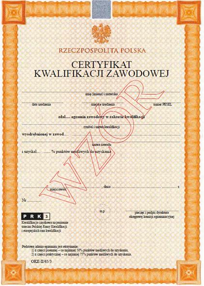 Oto certyfikat, jaki otrzymasz po zdaniu egzaminu przez OKE